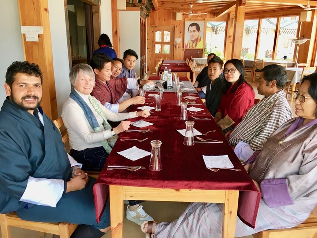 Mme France Marquet SAF Representative to UNESCO during lunch with SAF Bhutan Alumni, Officials of JTF & College of Natural Resources Royal University of Bhutan